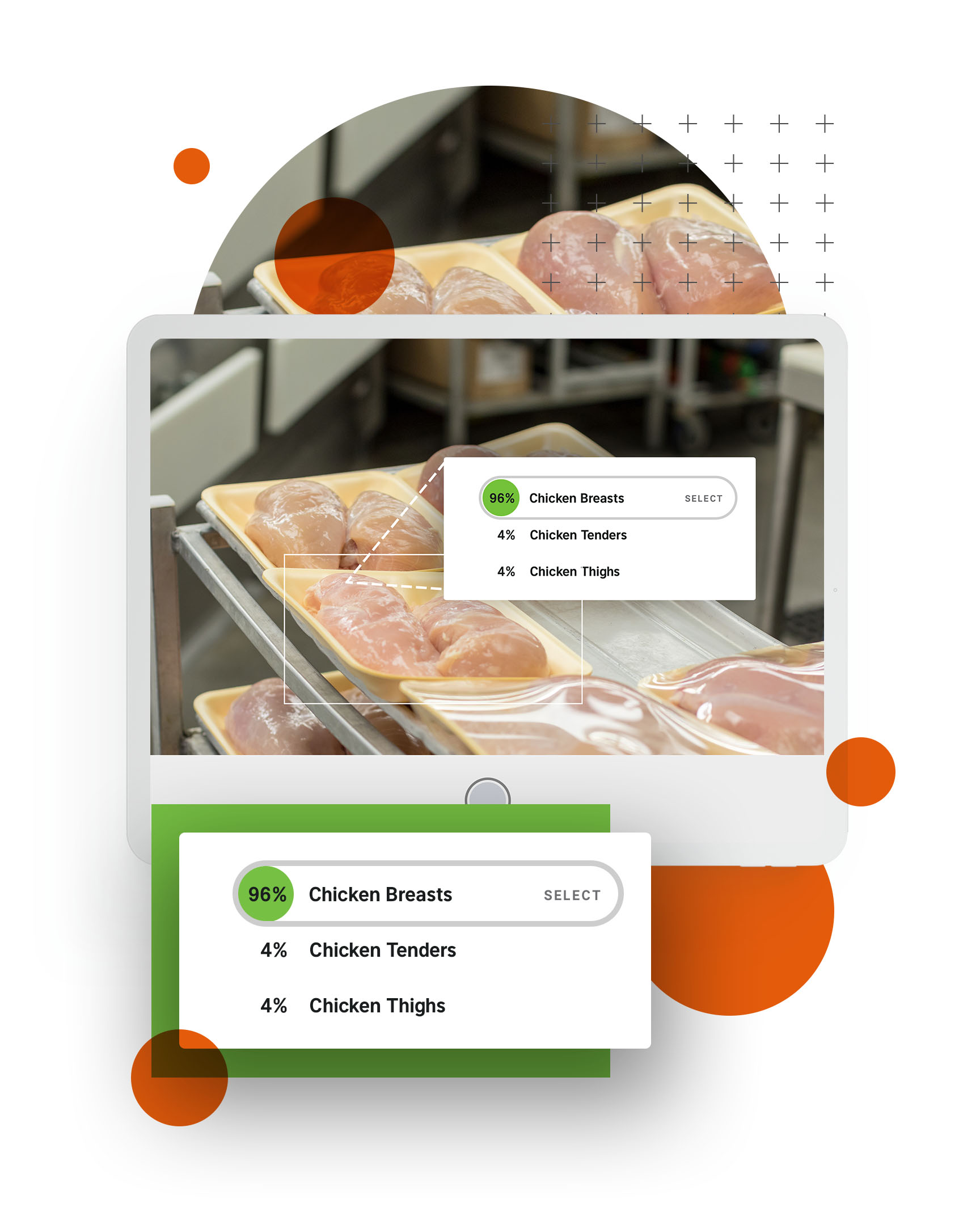 Tablet showing chicken package identification interface