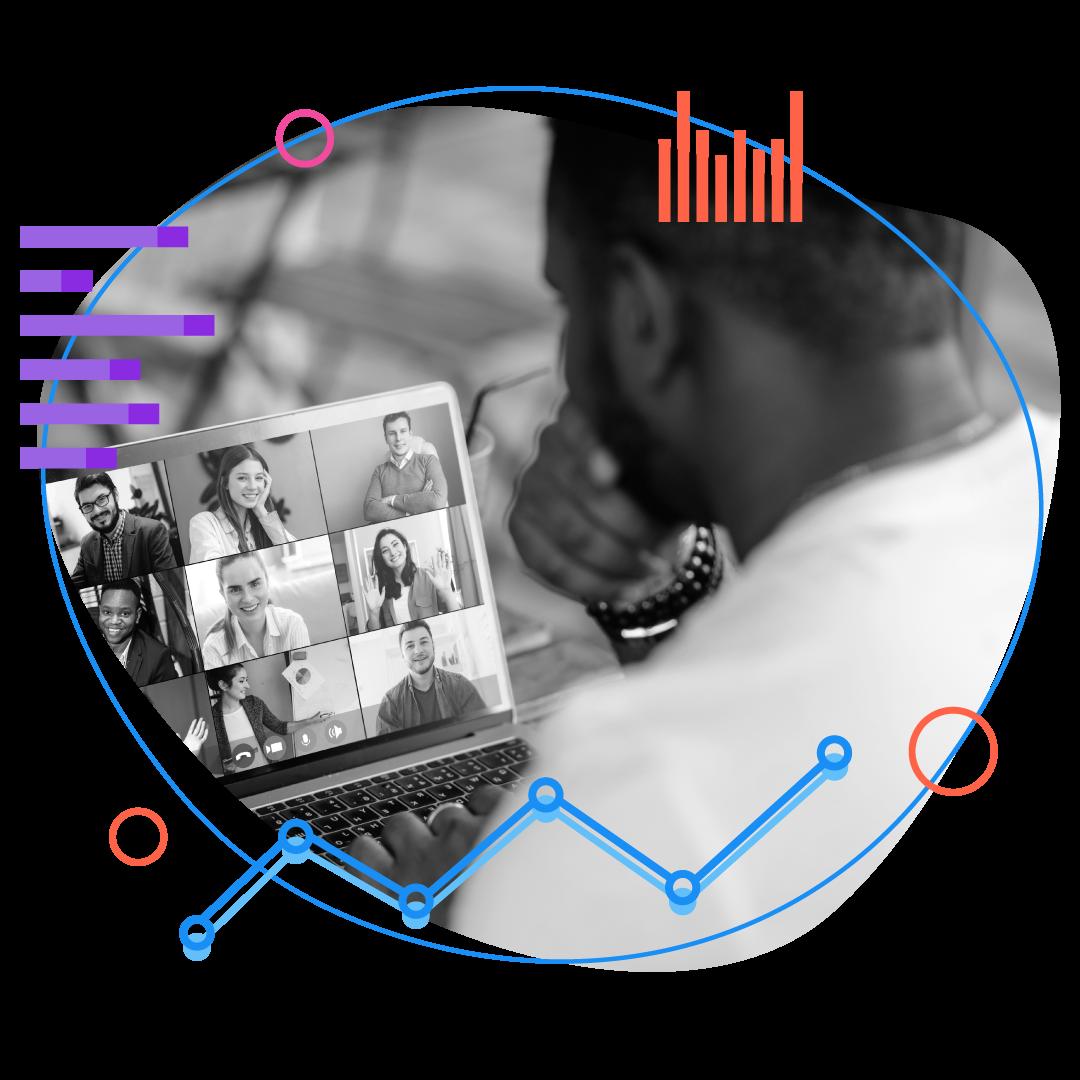 man looking at screen on a virtual meeting
