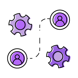 people and system graphic, change management icon