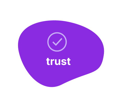shape with the word trust and a check mark