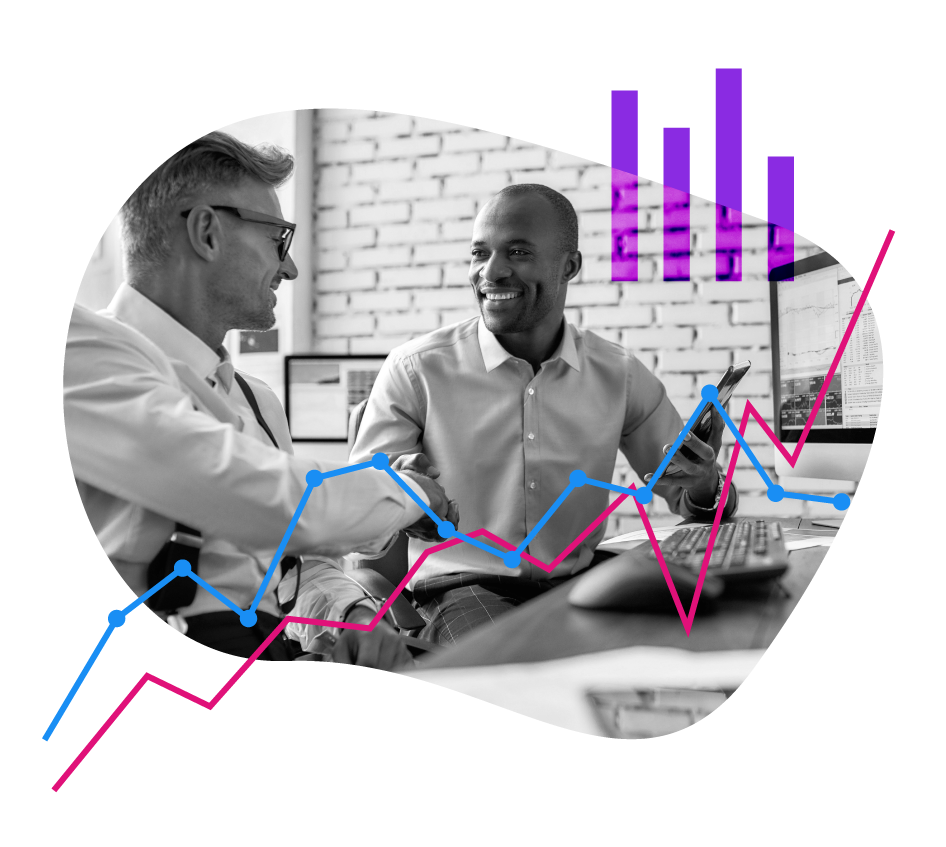 two men conversing over stocks, bar and line graph elements
