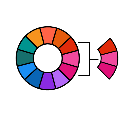color wheel with three colors pulled out to show how one can make different palettes, icon