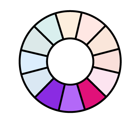 analogous color pairing shown in the color wheel, icon