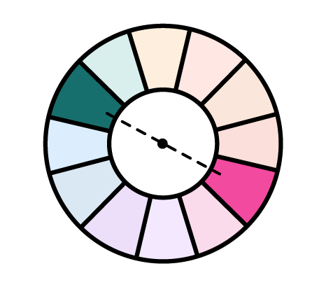 complementary color pairing, shown in the color wheel, icon