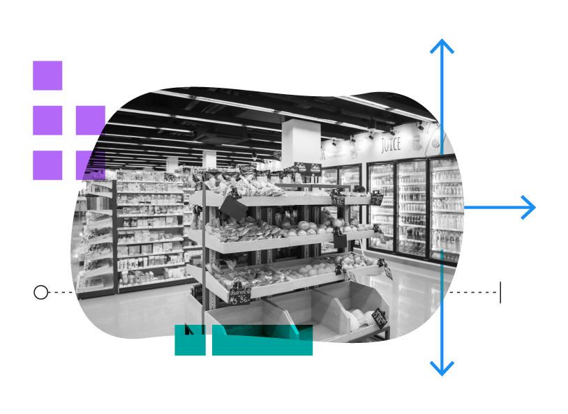 black and white photo of grocery store with colorful shapes and lines overlay