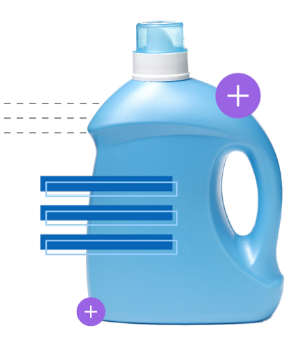 detergent bottle with decorative graphics overlay