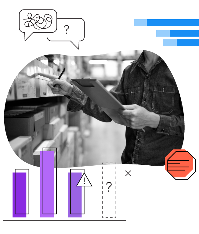 hands holding a clipboard, checking store inventory with data elements overlay