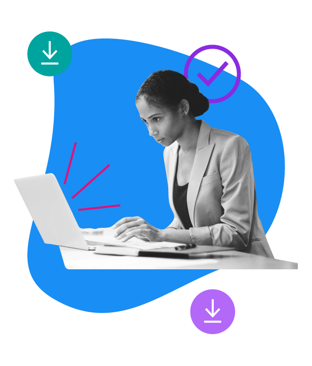 woman with dark hair on a computer and download symbols
