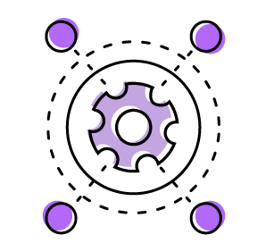 settings gear with dashed lines and circles around it