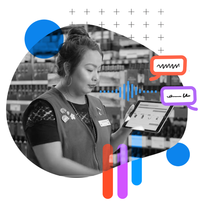 frontline store worker holding an tablet with circles and word bubbles overlay