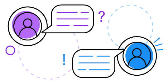 line drawing of people, word bubbles, circles, question mark, and an exclamation point
