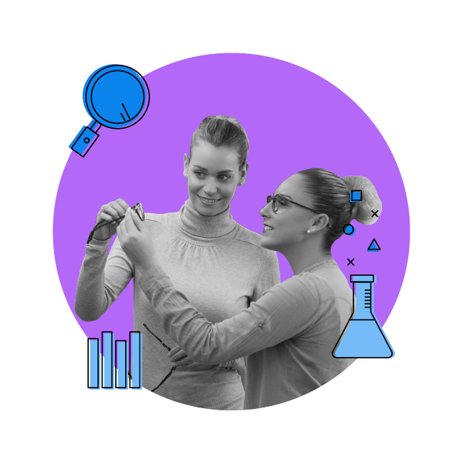 two women looking to buy glasses with data elements and a magnifying glass icon