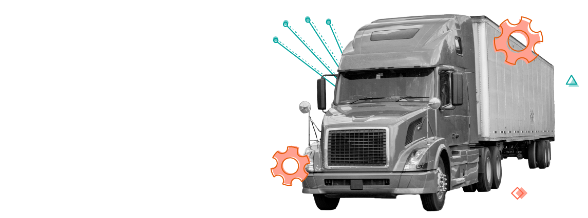 large semi en route with gear and data elements overlay