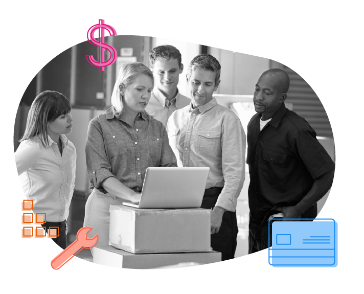 diverse team going over metrics on a computer, dollar sign, credit card, tool, and building block graphics