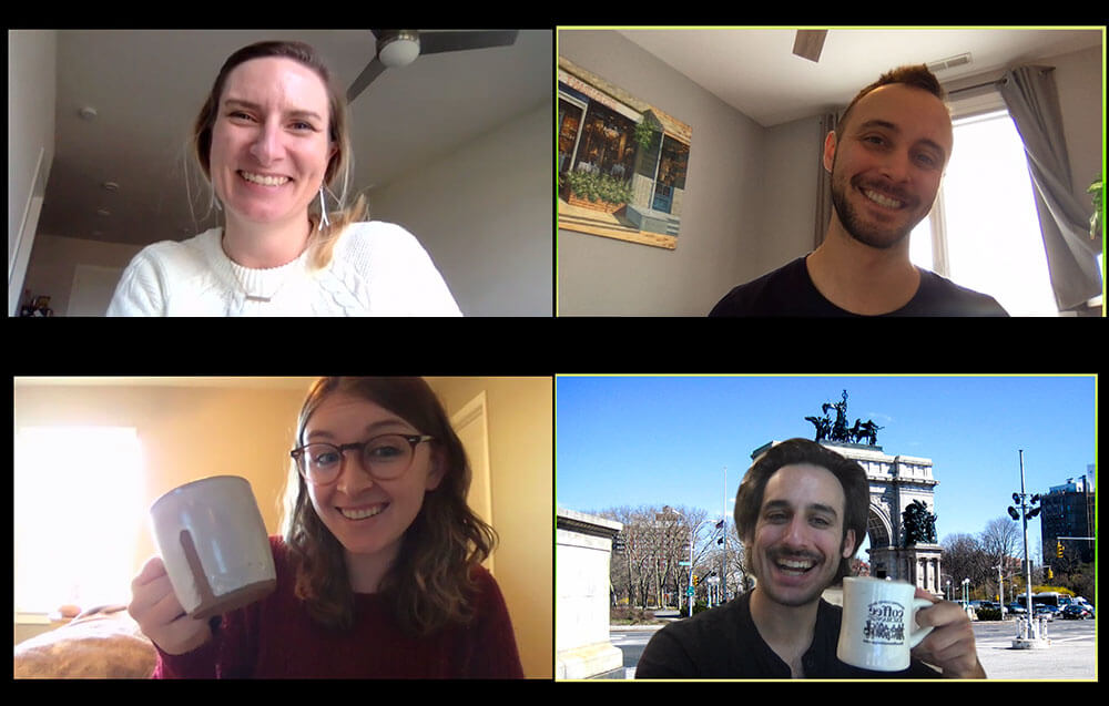video chat screen with people smiling on camera