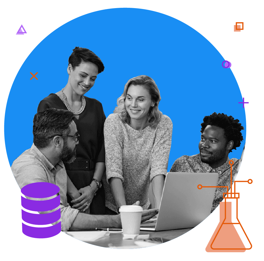 Diverse team in front of a computer working together, innovating