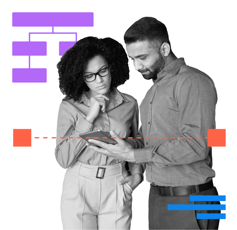 Female business leader with glasses and dark curly hair, checking ux design on a tablet with male freelancer with a beard