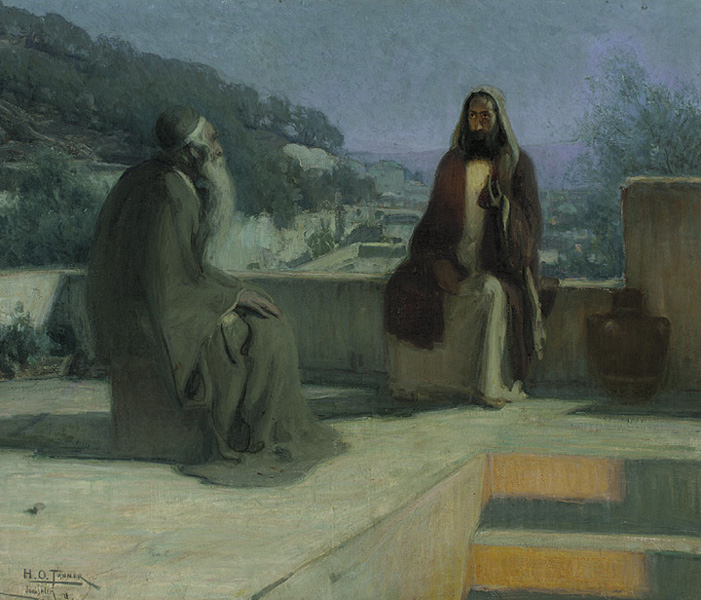 Nicodemus (left) talking to Jesus, by Henry Ossawa Tanner