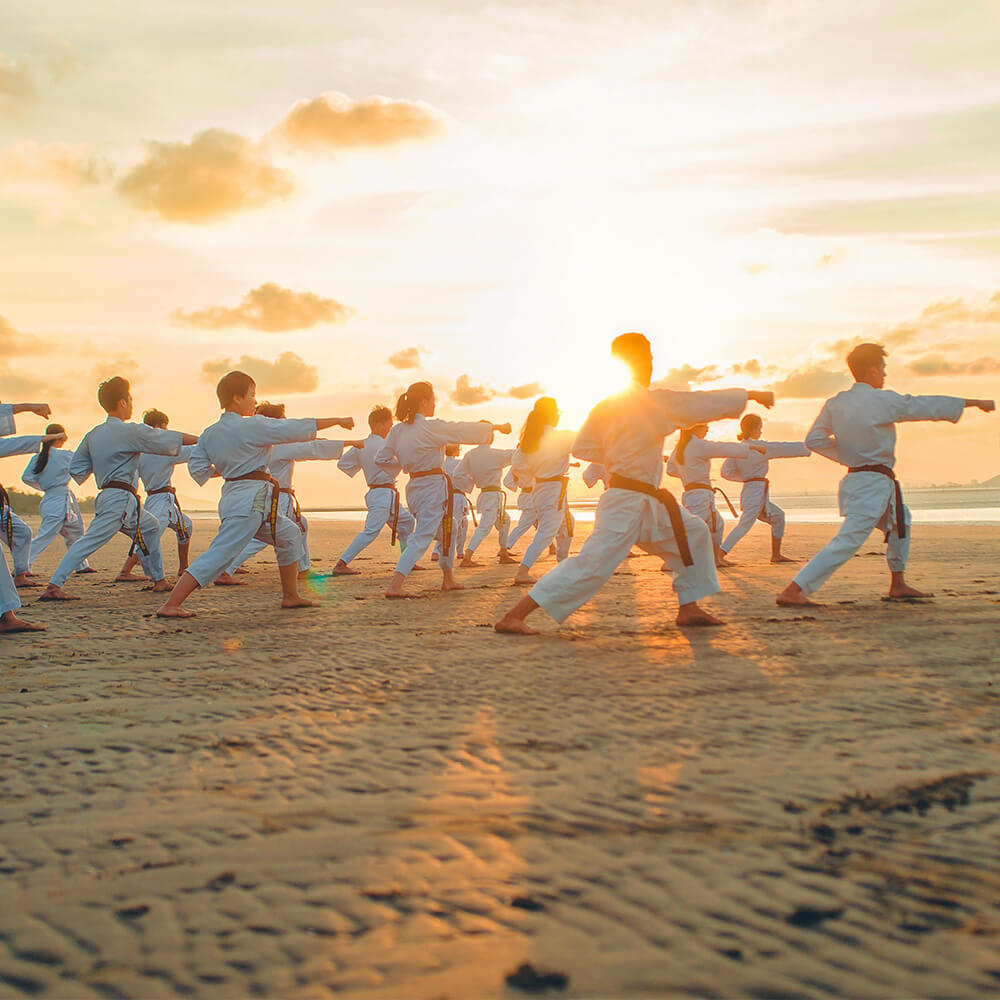 Bild einer Karategruppe am Stand