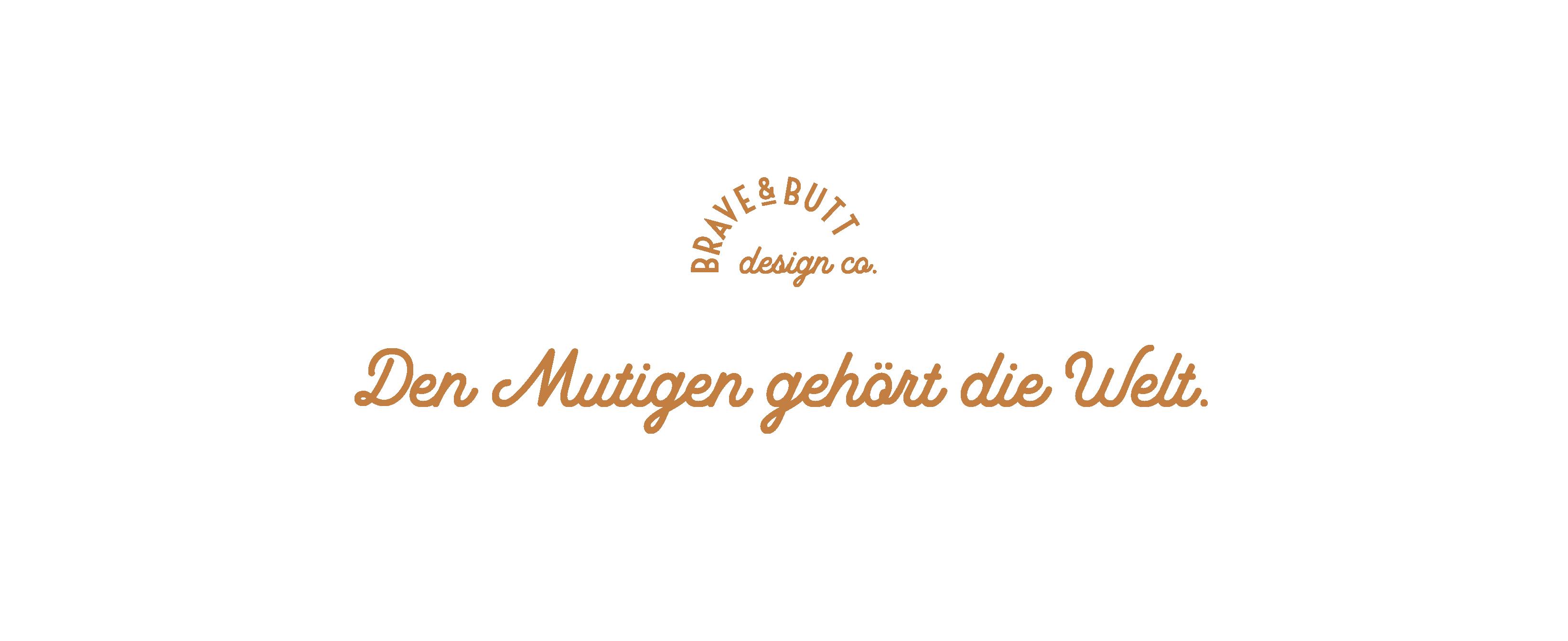 Logo-Grafik: Den Mutigen gehört die Welt, Slogan der Branding-Agentur.