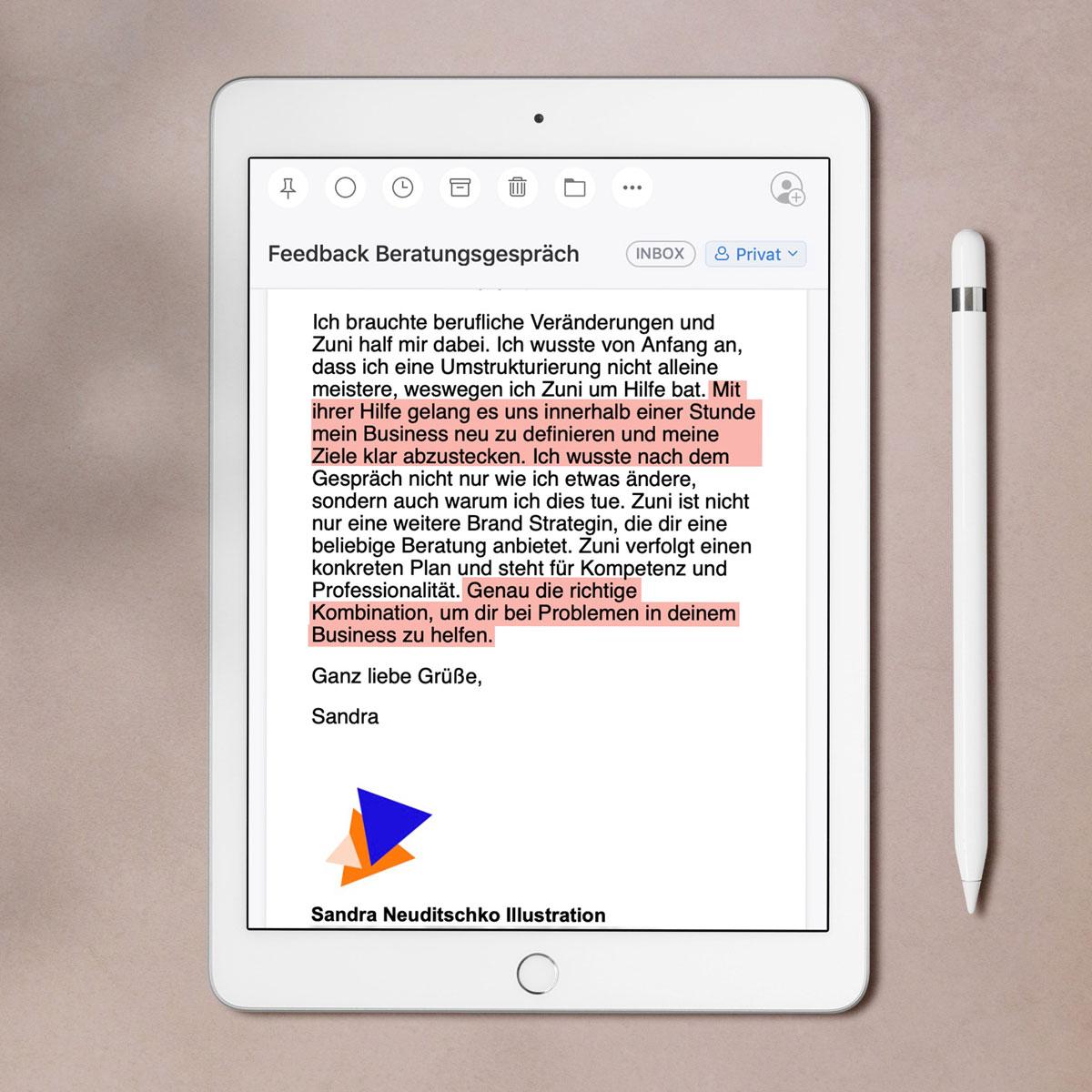 BRAVE & BUTT Brandberatung: Bewertung von Sandra Neuditschko auf dem iPad