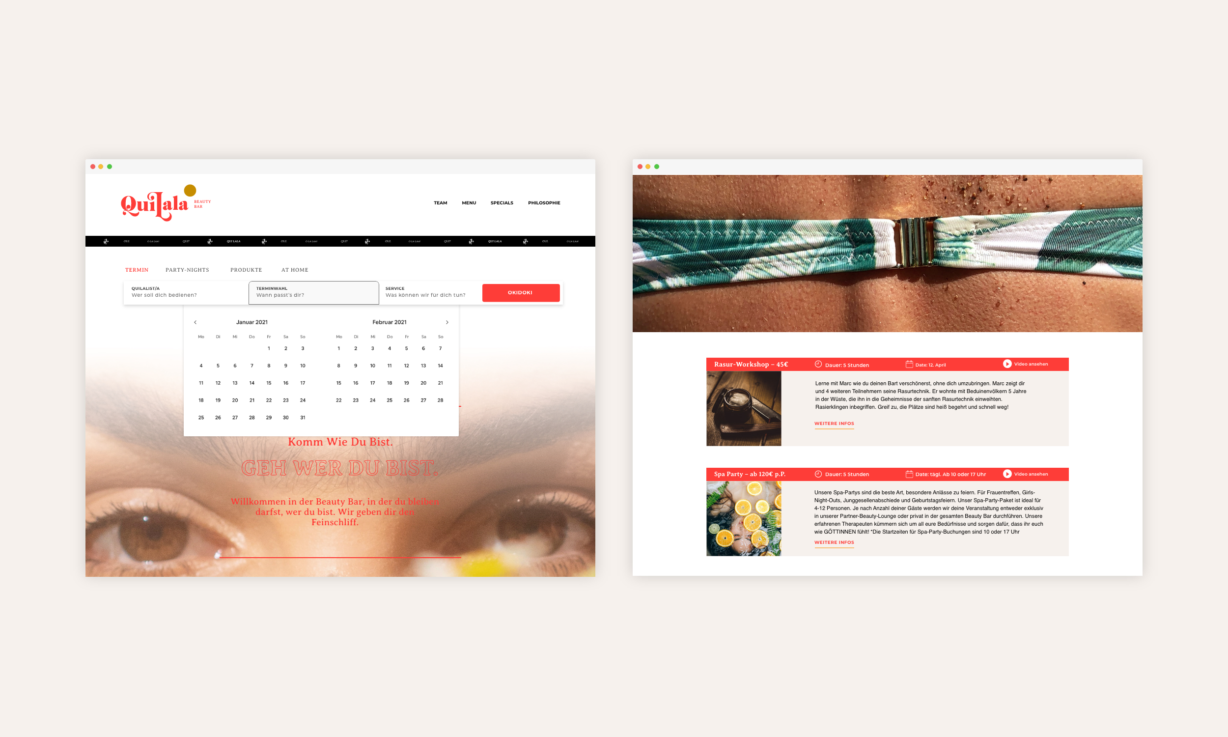 Website: Im Fokus liegt der Kalender. Hier lassen sich bequem Termine und Lieblingsbehandlungen buchen