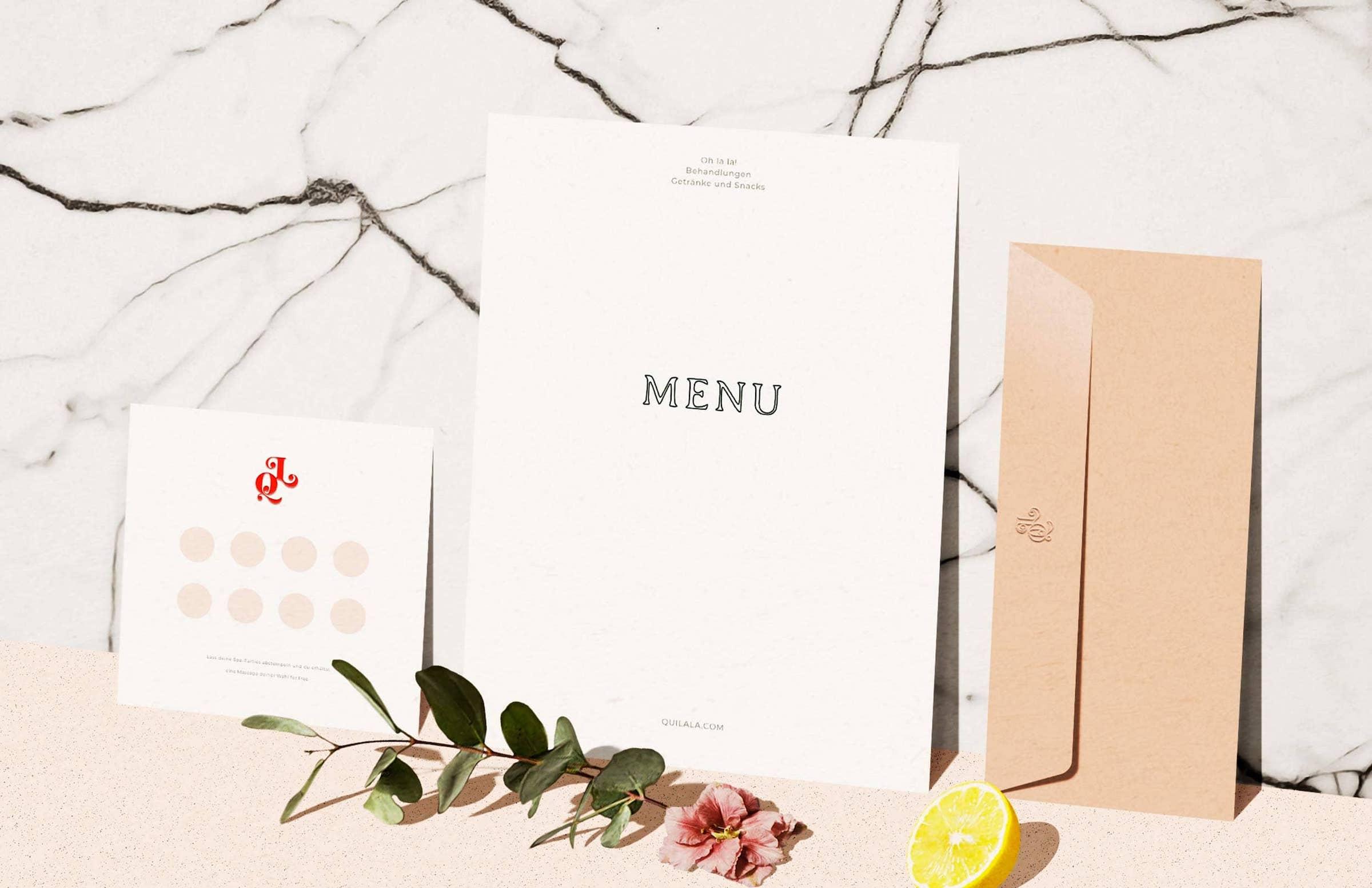 Druckerzeugnisse: Stempelkarte, Getränke-Karte / Menü, geprägte Umschläge