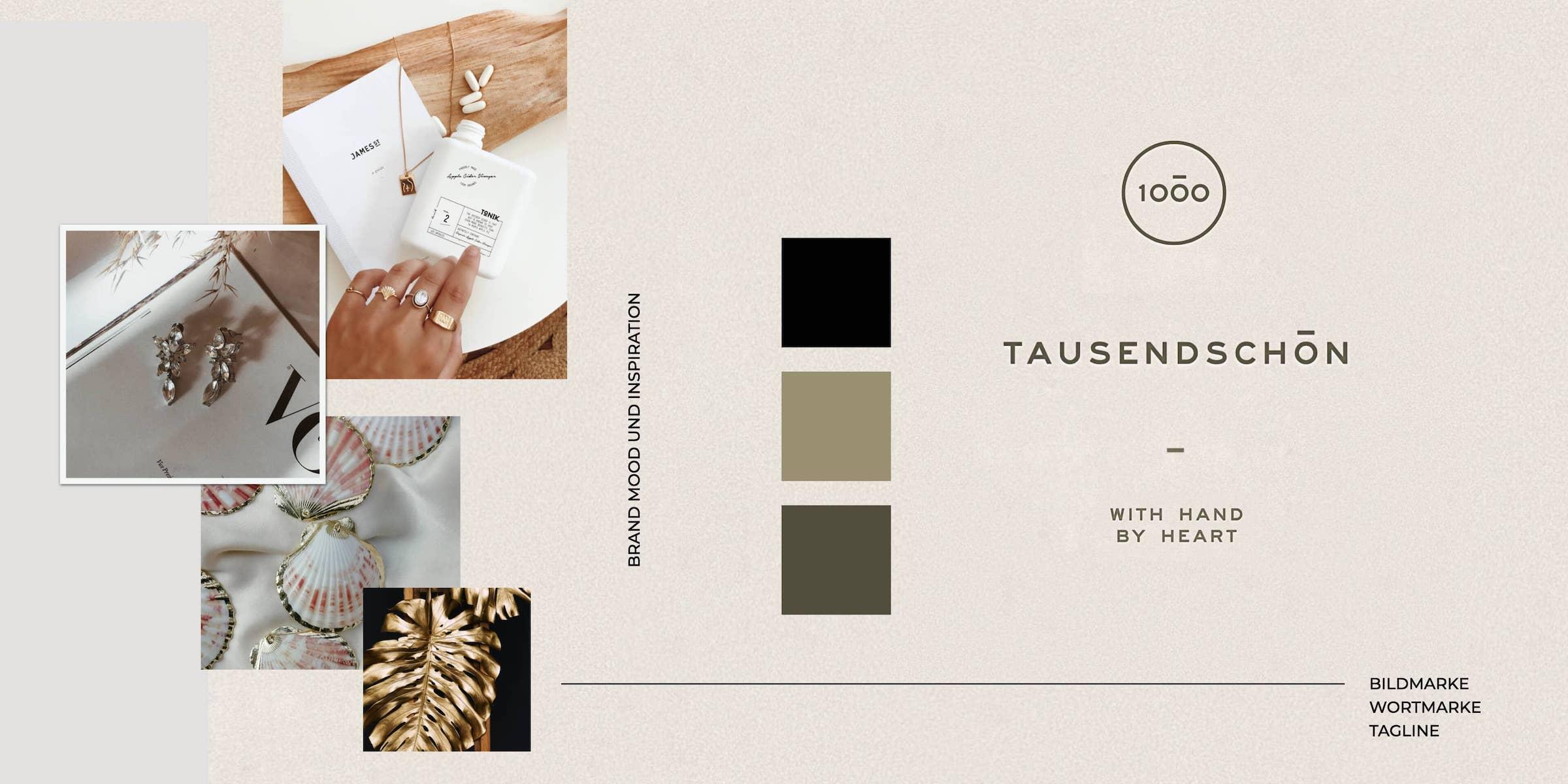 Moodboard für das Corporate Design einer Schmuckdesignerin zeigt Logo, Schriften und Farbpalette.