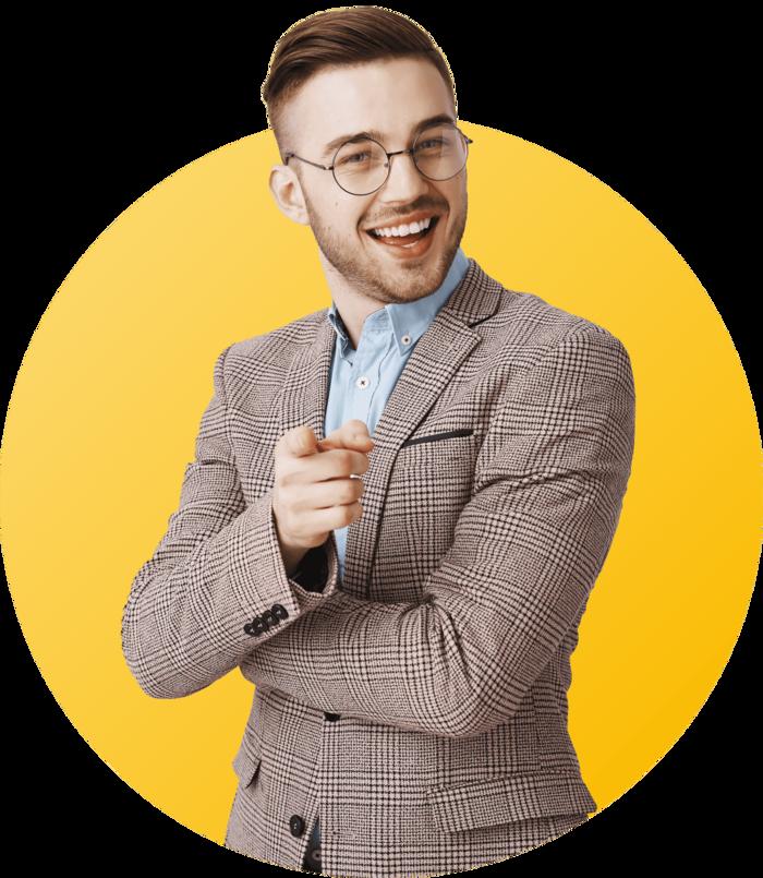 jeune homme élégant pointant du doigt