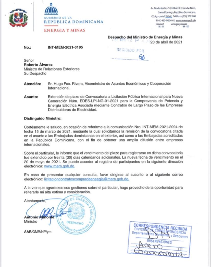 Extension de plazo de Convocatoria a Licitacion Publica Internacional para Nueva Generaci6n Num. EDES-LPI-NG-01-2021 Compraventa de Potencia y Energia Electrica Asociada mediante Contratos de Largo Plazo de las Empresas Distribuidoras de Electricidad
