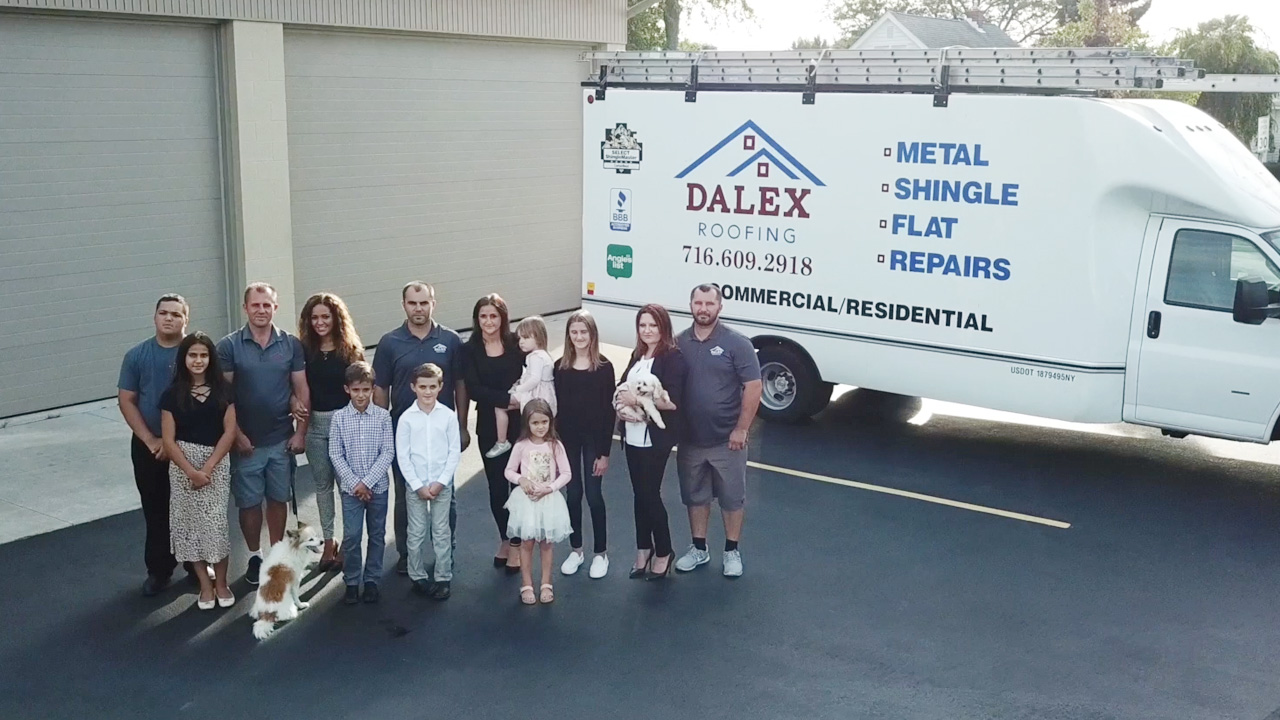 Dalex Roofing Team in front of Dalex Roofing Truck, Metal, Shingle, Flat, Repairs, Commercial/Residential