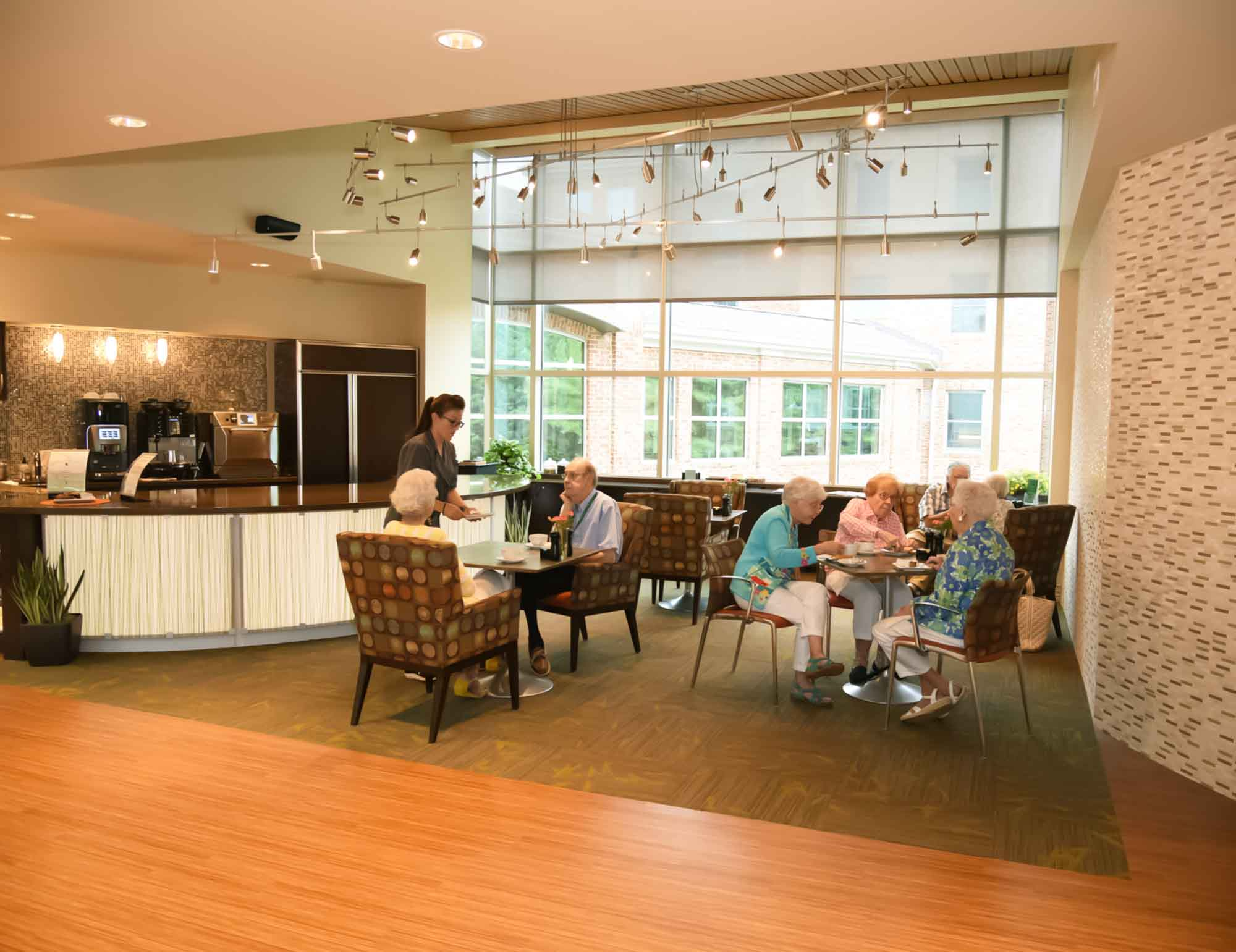 dining areas with residents eating