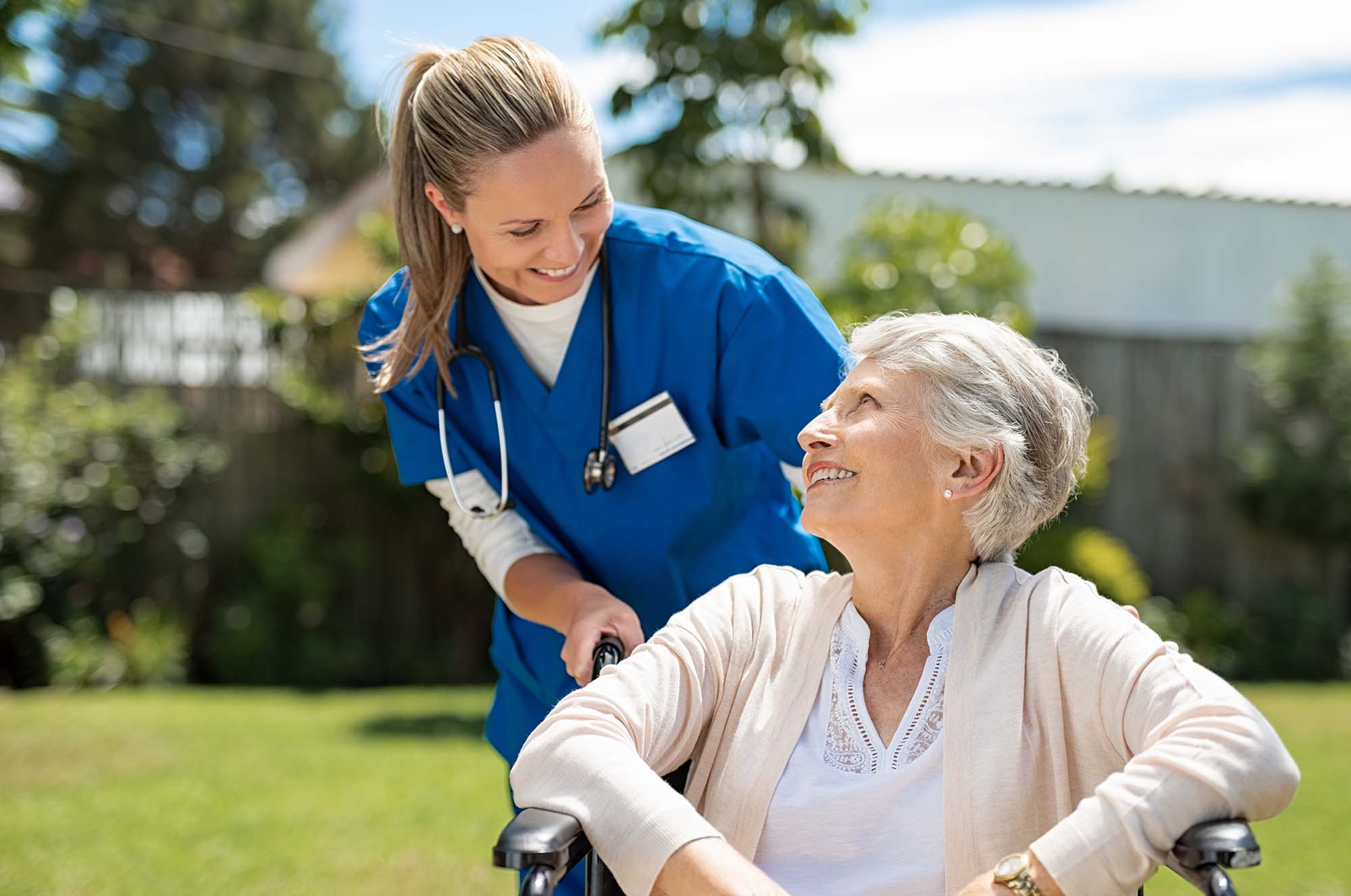 skilled nurse with patient for health services