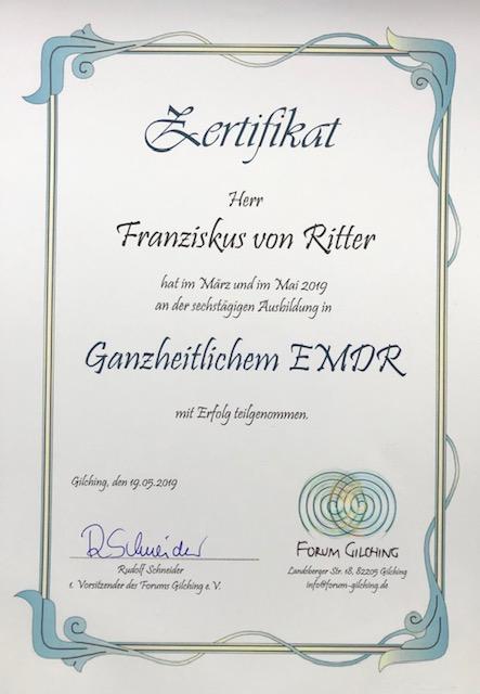Zerfikikat für die EMDR Ausbildung am Forum Gilching für  Yager Therapie Hypnose und Coaching Praxis Groenesteyn Muenchen und Prien am Chiemsee