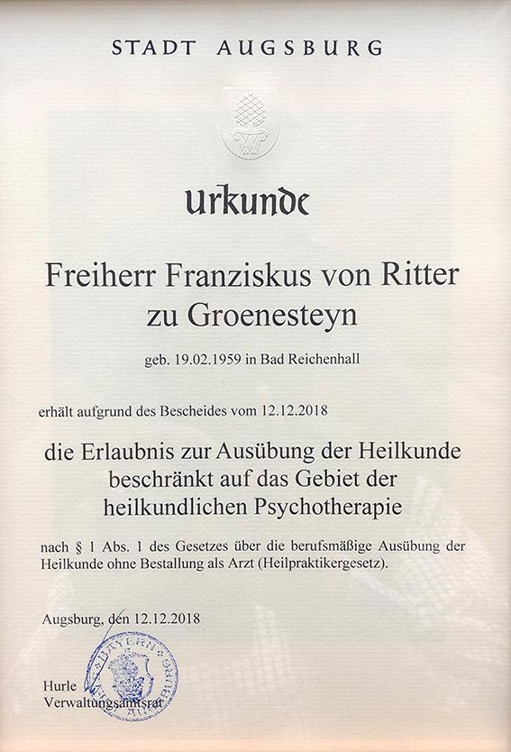 Heilerlaubnis der Stadt Augsburg für  Yager Therapie Hypnose und Coaching Praxis Groenesteyn Muenchen und Prien am Chiemsee