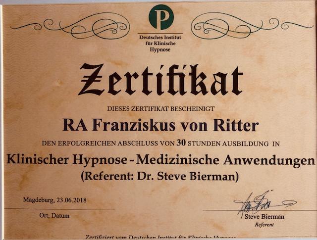 Zertifikat auf braunem Papier für die Dr. Steve Bierman Methode ausgestellt von Dr. Preetz für  Yager Therapie Hypnose und Coaching Praxis Groenesteyn Muenchen und Prien am Chiemsee