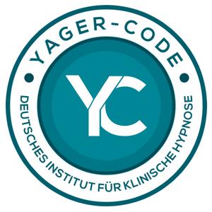 Zertifikatslogo weißes YC auf blaugrünem Grund für  Yager Therapie Hypnose und Coaching Praxis Groenesteyn Muenchen und Prien am Chiemsee