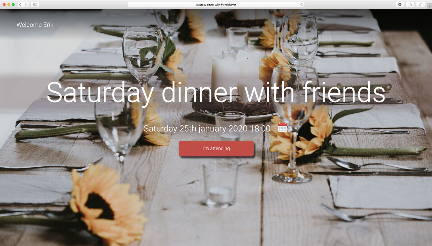 Organize a saturday dinner event