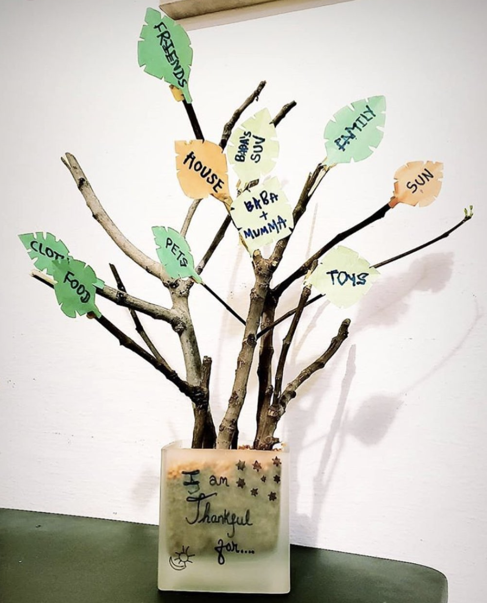 The gratitude tree is a wonderful way to teach young kids to be grateful.