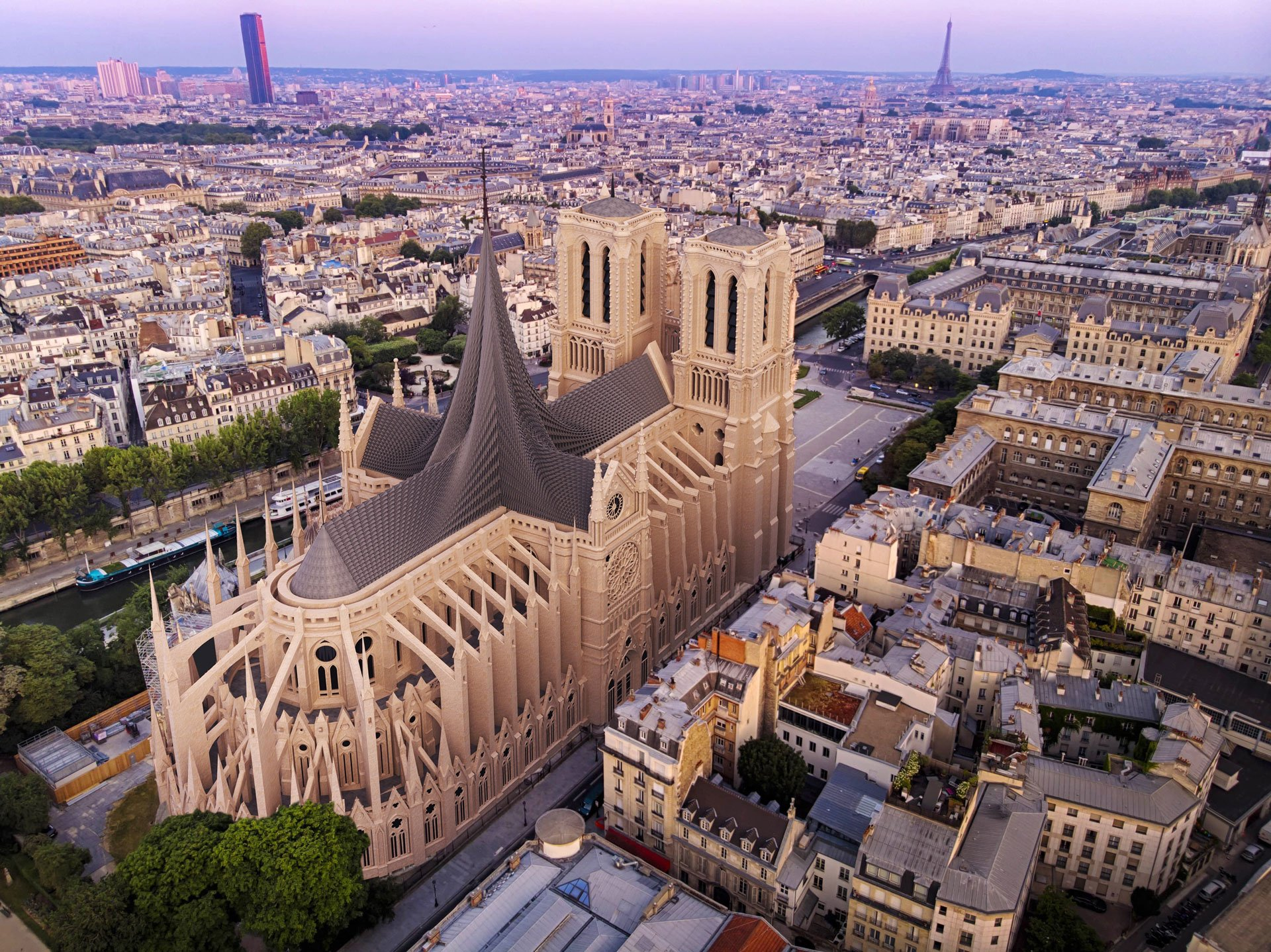 Indian firm, Axes in Excess, creates a kinetic roof full of symbolism for Notre-Dame design