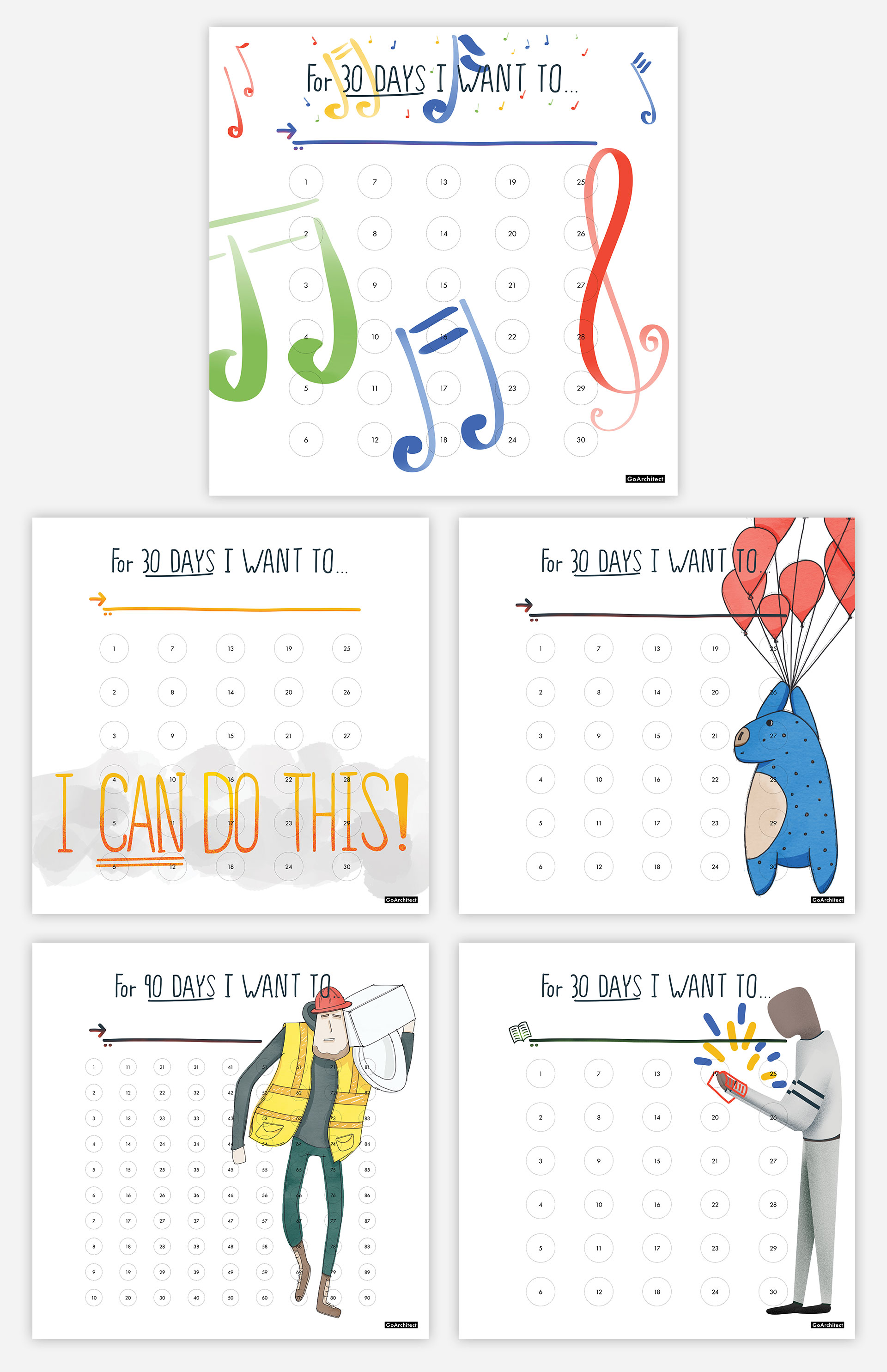 Free Printable Habit Tracker Posters For A Productive 2020