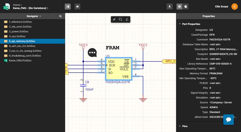Интерфейс Web Viewer: просмотр схемы и свойств компонента в Altium 365