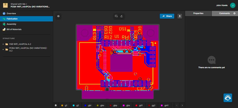 Altium 365 Просмотр данных Gerber в средстве просмотра Manufacturing Package Viewer