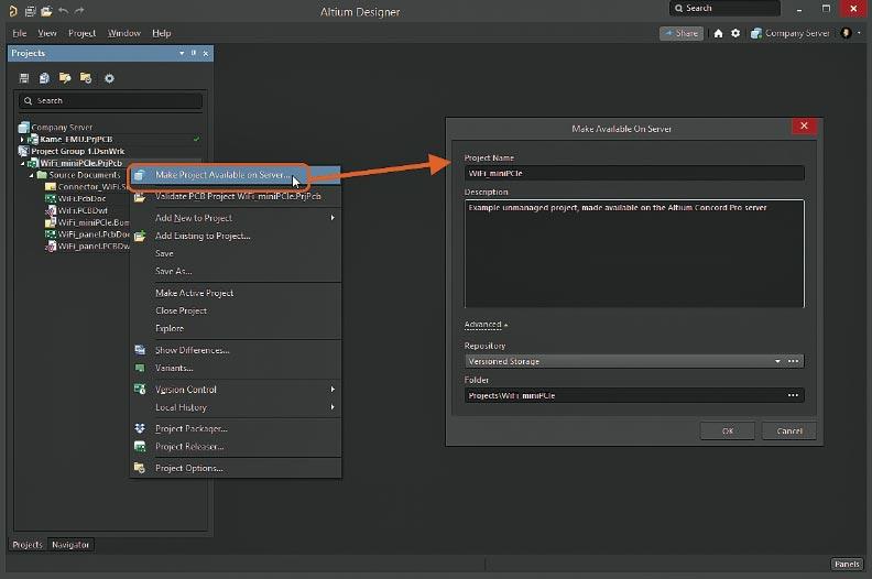 Вызов диалогового окна Make Available On Server для преобразования существующего неуправляемого проекта в управляемый в Altium Designer