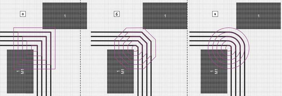 Поворот шины проводников: а) под 90°; б) под 45°; в) с использованием дуг