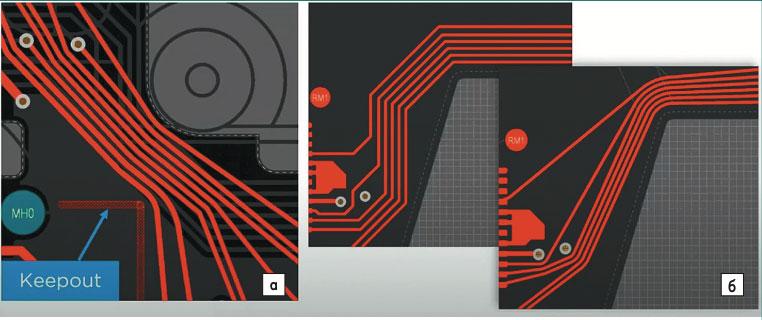 Змееобразный стиль трассировки в Altium Designer: а) узкое место; б) сложный контур