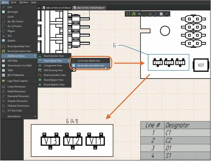 Altium 365 Вид Board Detail View прямоугольной формы