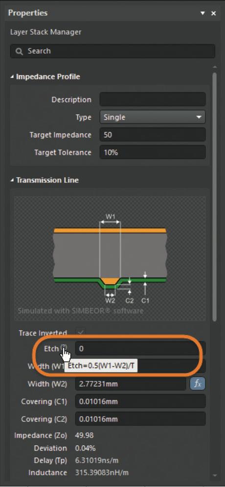 Altium 365 Рис. 7. Формула расчета бокового подтрава в Layer Stack Manager