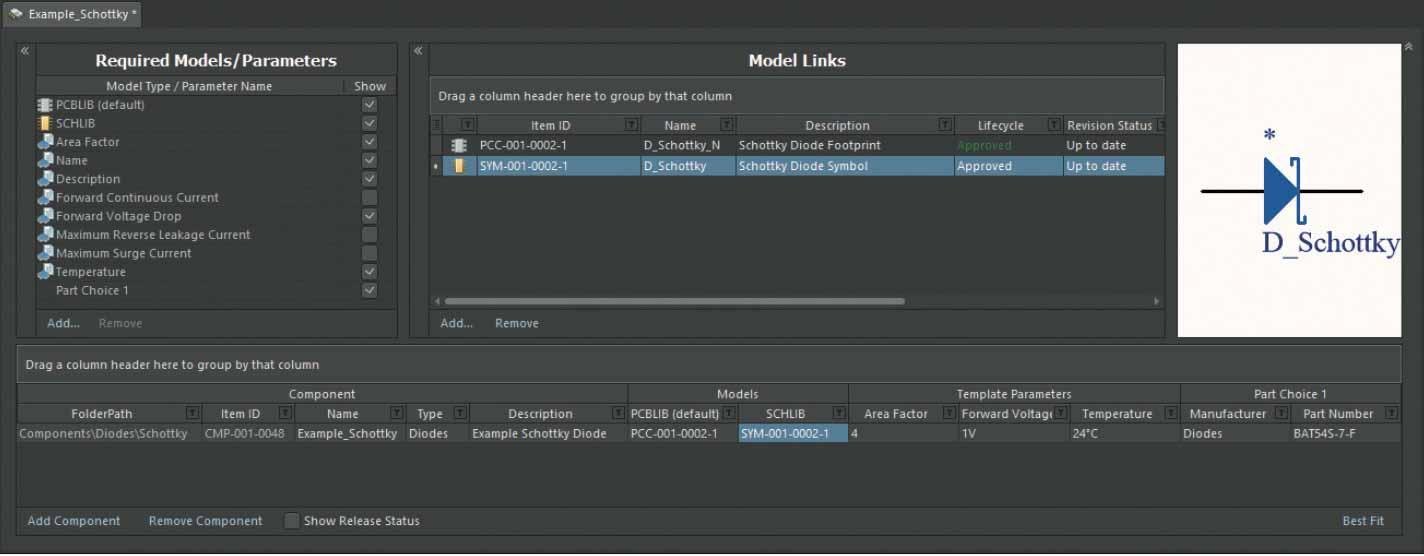 Altium Concord Pro Интерфейс редактора Component Editor в режиме Batch Component Editing