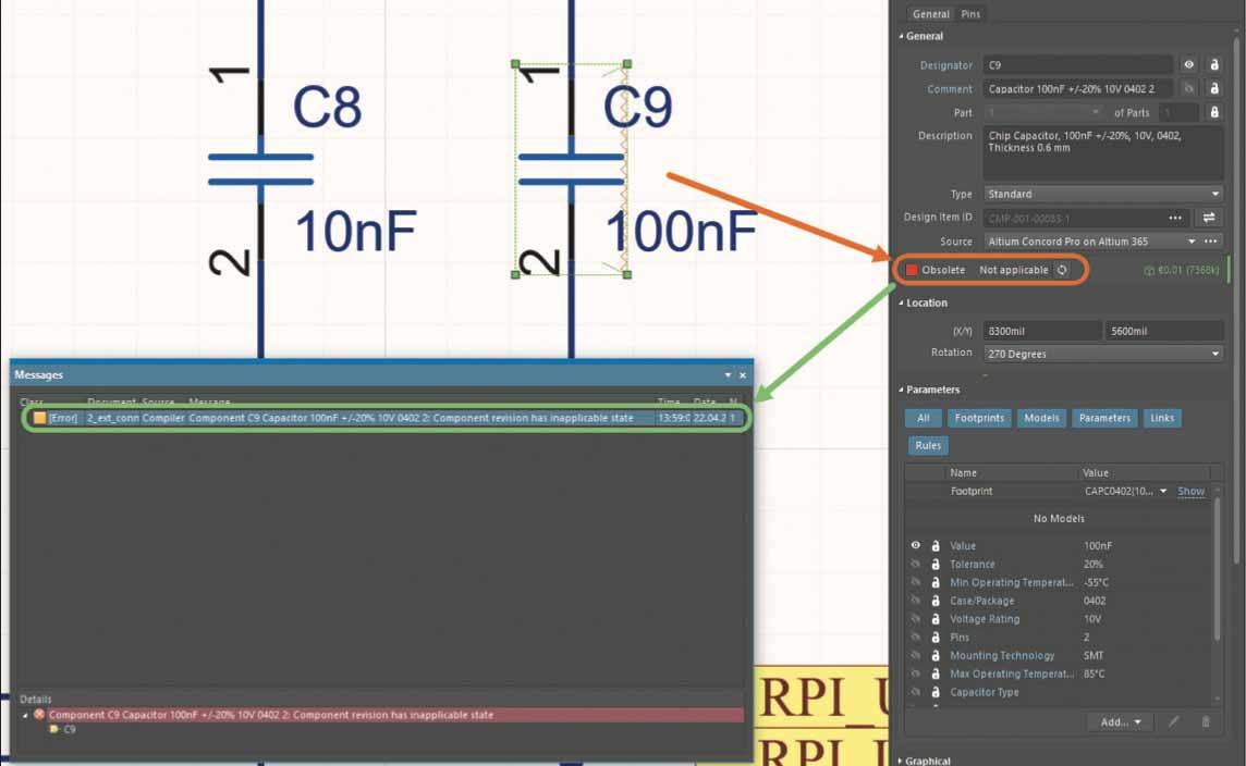 Altium Concord Pro Валидация проекта с компонентомв непримиримом состоянии